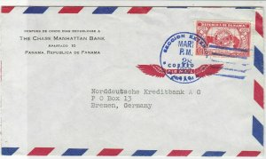 Panama 1957 Chase Manhattan Bank to Germany Airmail Wings Stamps Cover Ref 25323