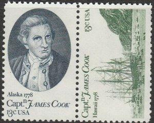 Stamp US Sc 1732-3 Pair 1978 Captain Cook Hawaii MNH