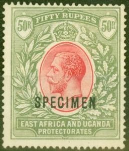KUT 1921 50R Carmine & Green Specimen SG75s Fine & Fresh Lightly Mtd Mint