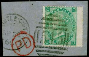 SG101, 1s green plate 4, FINE USED. Cat £275. WMK EMBLEMS. ON PIECE. OD
