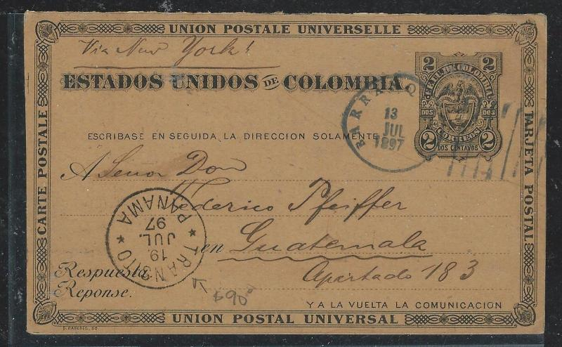 COLOMBIA(PP2706B) 1897  2C PSC  BARRANQUILLA VIA PANAMA TO GUATEMALA