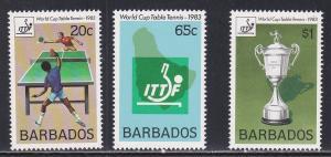 Barbados # 614-616, Table Tennis Championships, NH, 1/2 Cat.