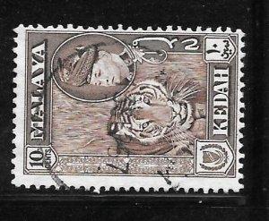 Malaya Kedah 88: 10c Sultan Tengku Badlishah, Tiger (Panthera tigris), used, ...