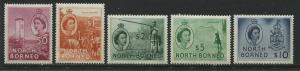 North Borneo QEII 1955-57 50 cents to $10 unmounted mint NH, Note $2 is hinged