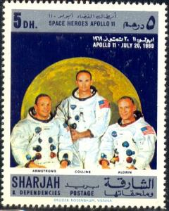 Astronauts, Space Heroes Apollo 11, 1969, Sharjah stamp used