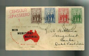 1940 Australia First Day Cover FDC # 184-187 to Dutch East Indies War Effort