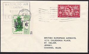 GB 1953 BEA 6d Plus 1d airmail stamp on flown cover London to Jersey........8997