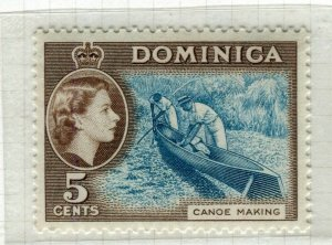 DOMINICA; 1954 early QEII issue fine Mint hinged 5c. value