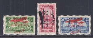 Alaouites Sc C17-C19 MLH. 1929 Air Post w/ red Airplane overprints, cplt set, VF