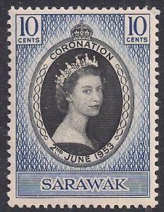 Sarawak 1953 QE2 10ct Coronation MM SG 187 ( R1172 )