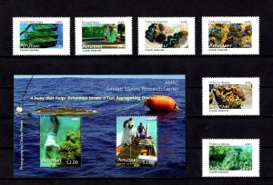 AITUTAKI - 2011 - MARINE RESEARCH CENTER - SHELLS - CLAMS ++ MNH SET + S/SHEET!
