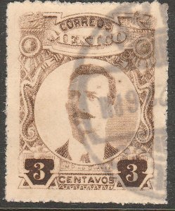 MEXICO 611, 3¢ ROULETTED, USED. VF. (332)
