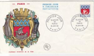 France 1965 Crest Picture Arms of Paris Slogan Cancels Stamp FDC Cover Ref 31711