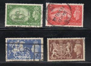 Great Britain Sc 286-9 1951 George VI Hi Value stamp set used