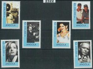 2322 - ANGOLA, STAMP SET: Churchill, Madonna, Chaplin, Sinatra, Woods, Cinema