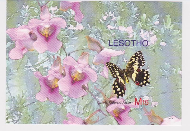 Lesotho - Butterflies, 2007 - Sc 1412 S/S MNH - IMPERFORATE