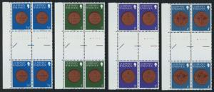 Guernsey 173-88 Gutter Pair Blocks MNH Coins on Stamps, Flower, Bird, Crest