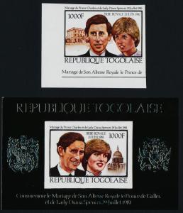 Togo 1143A,B imperf MNH Royalty, Charles & Diana Wedding, Royal Baby o/p