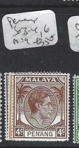 MALAYA PENANG  (P0704BB)  KGVI 1X,2C,4C  SG 3-4, 6  MOG