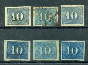 BRAZIL SCOTT# 37 LOT OF 6 USED SHADES FOURTH ISSUE AS SHOWN CATALOGUE VALUE $72