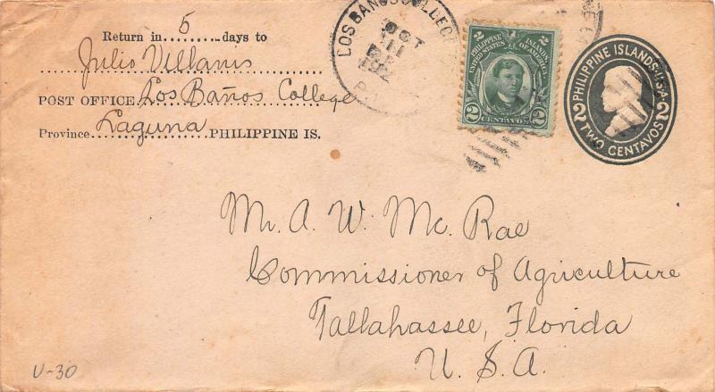 Philippines, 2c Rizal used on U30 Entire, Sent from Laguna, P.I. to Florida