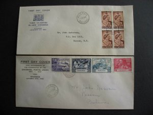 Bahamas UPU Sc 150-3, Silver wedding block Sc 148 toned FDC first day covers