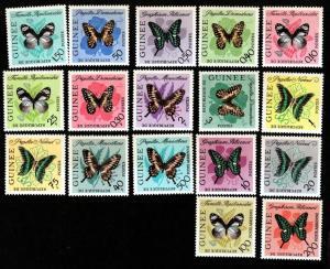 Guinea # 291-304,C47-C49 Mint Butterflies!