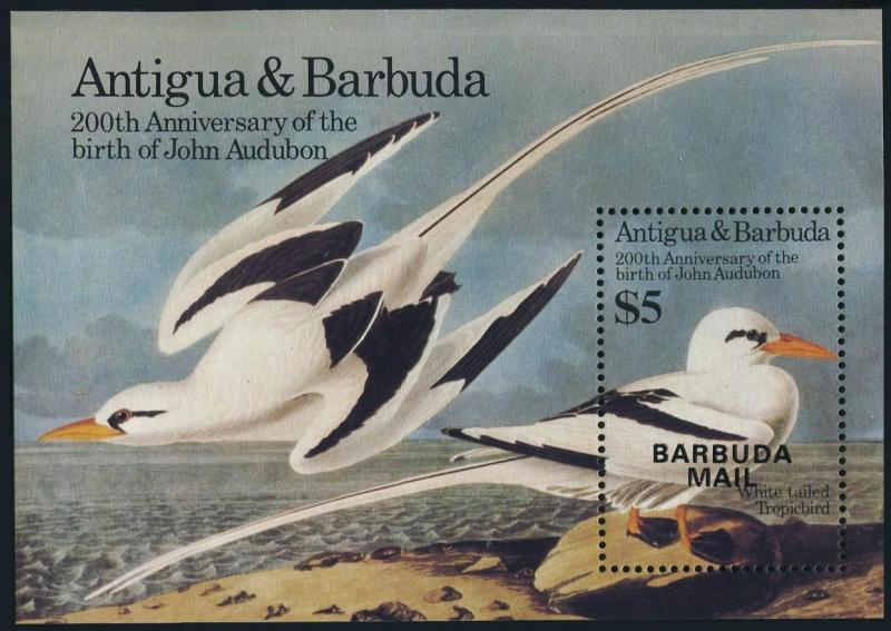 Barbuda 713,MNH.Michel 805 Bl.93. Audubon's birds 1985.White tailed tropic-bird.