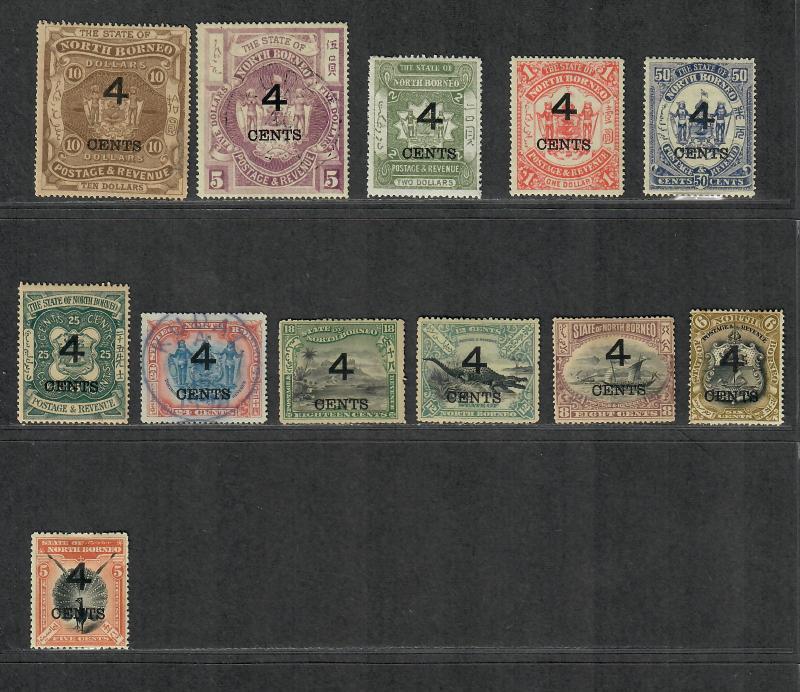 North Borneo Sc#91-102 M+U/H/VF, 92-5 NG, 96+101a Postally Used, Cv. $434.75