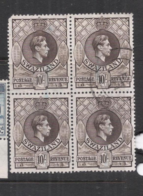 Swaziland SG 38a Block of Four, RARE, See UL Corner VFU (10dms)