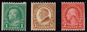 US STAMP #604-6 Series of 1923-26 MHR/OG STAMPS