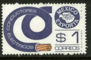 MEXICO Exporta 1169, $1P Electr Cable Wmkd Fosfo Paper 2. MINT, NH. VF.