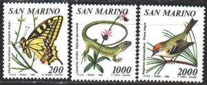 San Marino. 1990. 1458-62 from the series. Fauna of Italy, butterfly, lizard,...