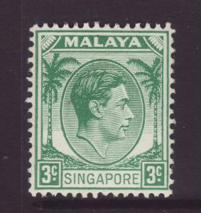 1948 Singapore 3c Perf 14 Unmounted Mint SG3