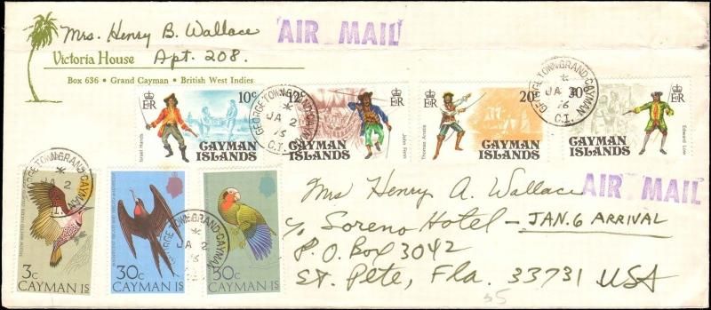 1976 CAYMAN ISLANDS MULTI STAMP TO UNITED STATES