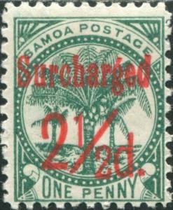 Samoa 1898 SG84 Surcharged 2½d. on 1d bluish green Palm Tree MH