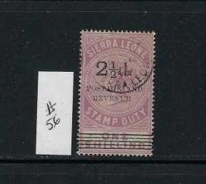 SIERRA LEONE SCOTT #56 1897 OVERPRINT/SURCHARGE 2 1/2 ON ONE SHILLING - USED