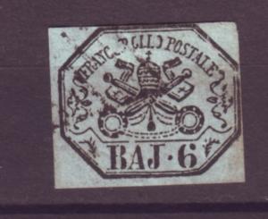 J21196 Jlstamps 1852 roman states used #7 papal arms