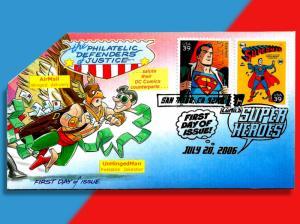 DC Comics Superhero Superman on FDC for Philatelic Defenders of Justice!
