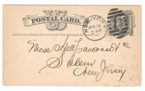 UX5 Postal Card 1878 New York Duplex 23 Cancel 9 bar oval Killer Nice Strike
