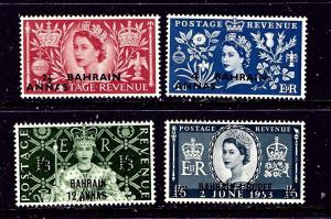 Bahrain 92-95 MNH 1953 QEII Coronation overprints