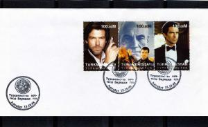Turkmenistan 1998 James Bond 007 Set Perforated in official FDC