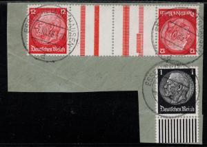 Germany Scott # 406 (2), 415, 2 labels, used, opp, tete beche, Mi # KZ19
