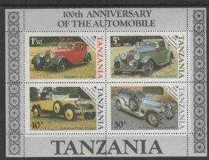 TANZANIA #266a 1985 AUTOMOBILES 100TH ANNIV. MINT VF NH O.G S/S