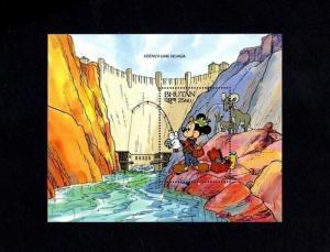 BHUTAN - 1991 - DISNEY - MICKEY - WONDERS - HOOVER DAM - MINT - S/SHEET!