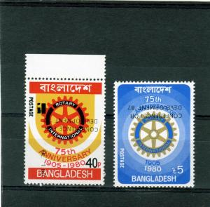 Bangladesh 1987 Rotary Int.Set(2)INVERTED OVPT.Sc#285/86 MNH