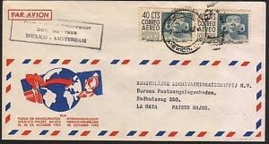 MEXICO 1952 first flight cover to Amsterdam.......................77192