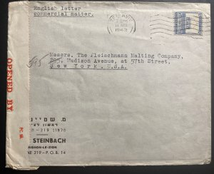 1942 Tel Aviv Palestine Censored Cover To Fleischmann Co New York USA