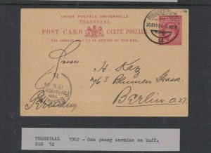 TRANSVAAL POSTAL STATIONARY 1902 1D RED FROM SOUTH AFRICA TO BERLIN