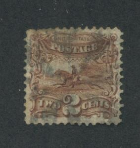 1869 US Stamp #113 2c Used F/VF Fancy Cancel G. Grill Catalogue Value $75